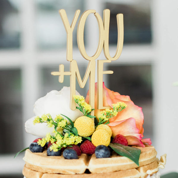 You + Me Wooden Cake Topper - life after yes