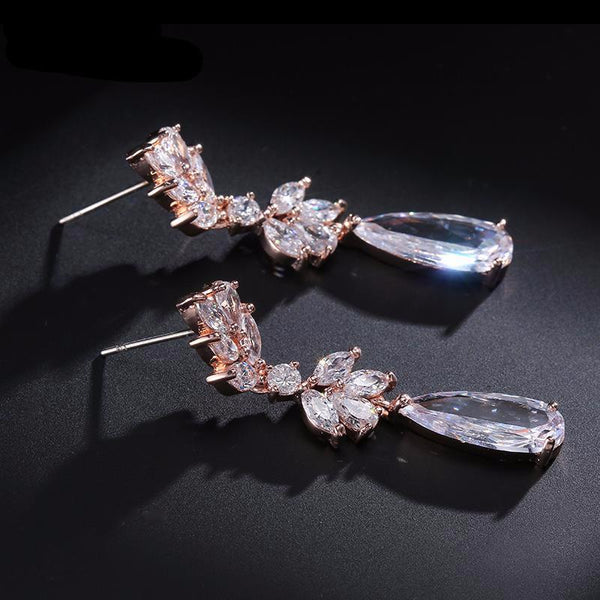 Rose Gold Leaf Drop Earrings - life after yes