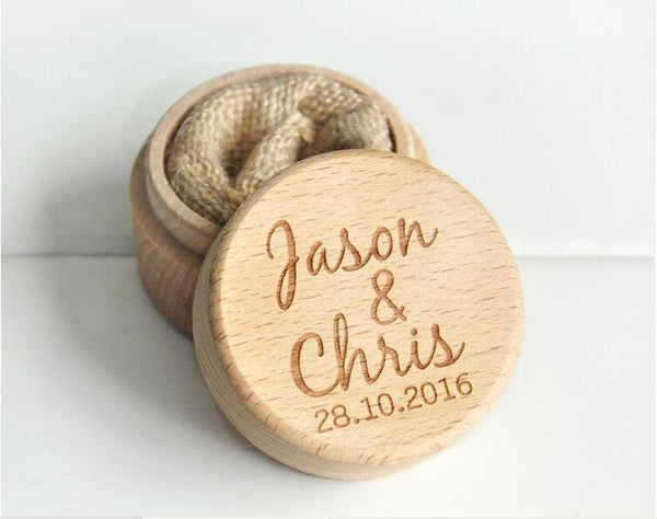 Personalized Round Wooden Ring Box