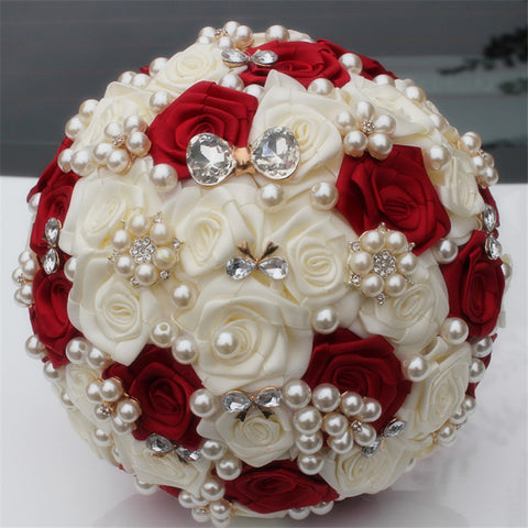 Artificial Rose Brooch Bouquet (37 Color Options)