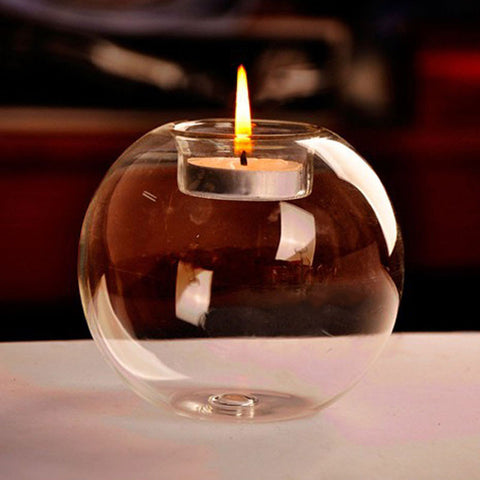 Round Glass Tea Light Candle Holder - life after yes