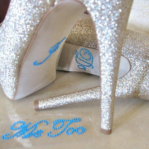 2 Piece Set. I DO and ME TOO Rhinestone shoe stickers - life after yes