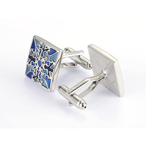 Blue Patterned Square Cufflinks - life after yes