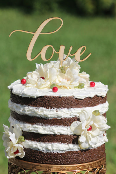 "Wooden ""Love"" Cake Topper"