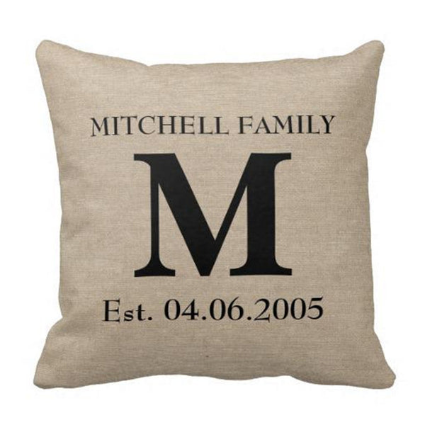 Rustic Burlap Monogram Pillow with Name & Date - life after yes