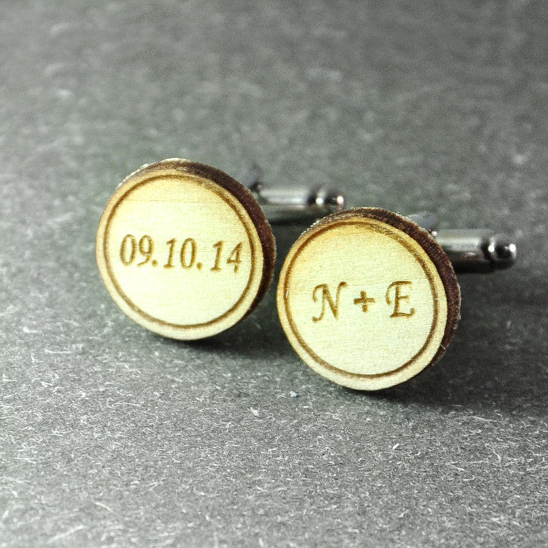 Personalized Wooden Cufflinks - life after yes