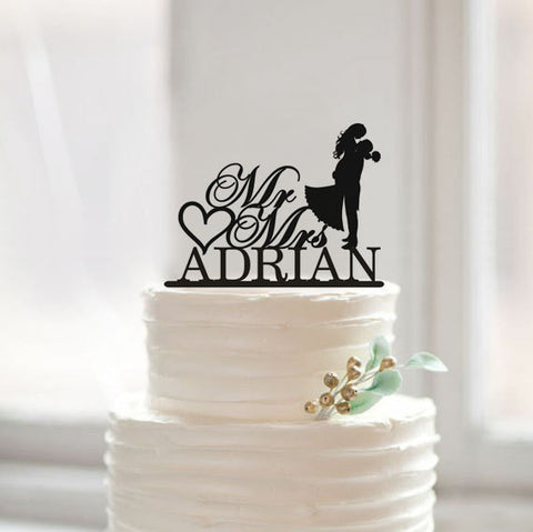 Bride and Groom Silhouette Cake Topper with Name