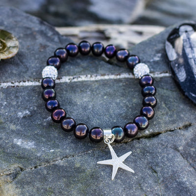 Black Freshwater Pearl Bracelet with Silver Starfish Charm