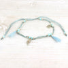 Blue Shell and Tassel Anklet