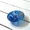 Handmade Blue Glass Dish with Swimming Copper Fish