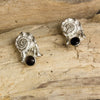 Silver Cast Shell and Iolite Stone Stud Earrings