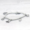 Silver plated charm bracelet with crab, shell, turtle, starfish and octopus charms
