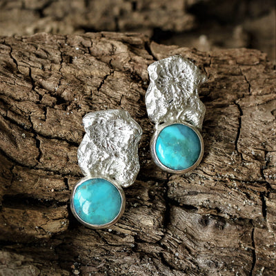 Silver Coral Chip Pendant with Turquoise Stone