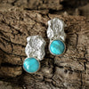 Cast Coral and Turquoise Stud Earrings