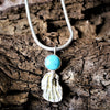 Silver Coral Chip with Turquoise Cabochon