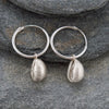 Silver Cowrie Drop Earrings