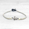 Surfer Style Cream Beaded Anklet with Turtle Charm