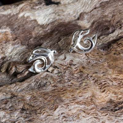 Silver Dolphin and Wave Stud Earrings