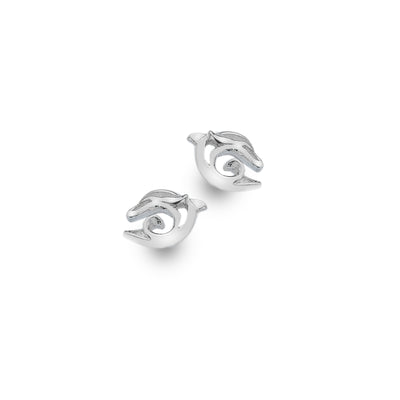 Silver Dolphin Wave Stud Earrings