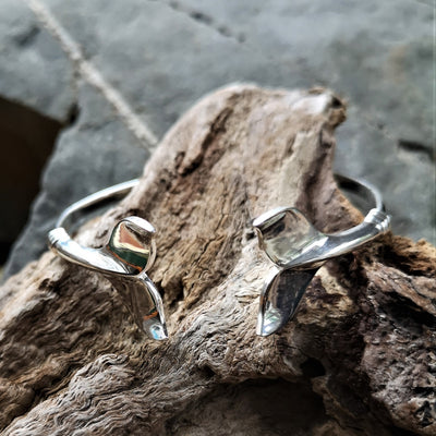 Double Ended Silver Whale Tail Bangle