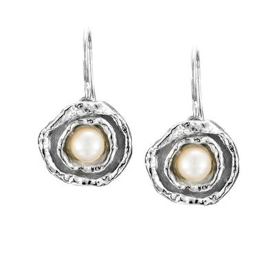 Double Cup Seawater Cast Drop Silver and Pearl Earrings