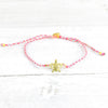 Pink Anklet with Golden Turtle Charm
