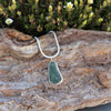 Silver and Dark Green Sea Glass Pendant
