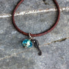 Boho Leather Bracelet with bead and Seahorse Charm