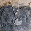 Silver Oxidised Wave Pendant