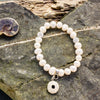 White Freshwater Pearl Bracelet with Silver Urchin Charm