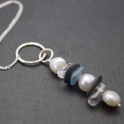Pendant with Aquamarine Slate Crystal and Pearl