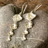 Stunning Cornish Seawater Cast Drop Silver Earrings