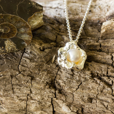 Delicate Cornish Seawater Cast Silver and Pearl Necklace