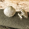 Chunky Silver Cockle Cufflinks