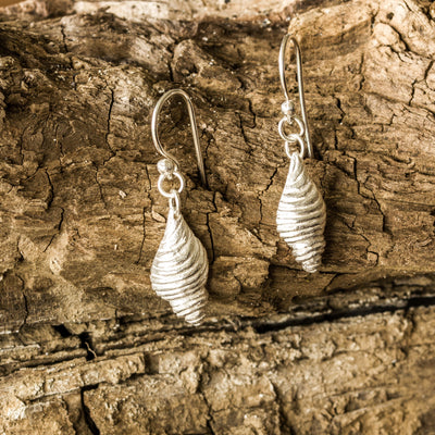 Silver Conch Shell Drop Earrings