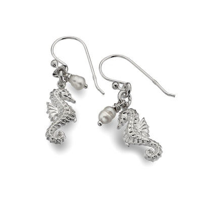 Silver and Fresh Water Pearl Sea Horse Earrings