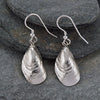 Silver Mussel Drop Earrings