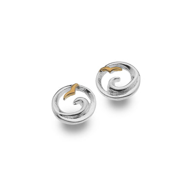 Silver & Rose Gold Wave Stud Earrings