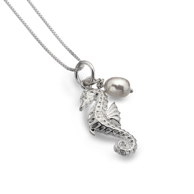 Silver Sea Horse with Fresh Water Pearl Necklace
