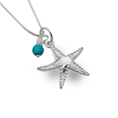 Silver Starfish with a Turquoise Bead Pendant