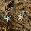 Silver Starfish and Turquoise Bead Drop Earrings