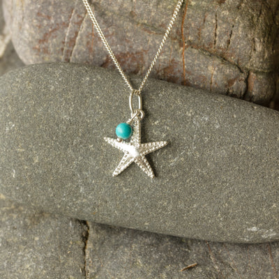 Silver Starfish and Turquoise Bead Pendant