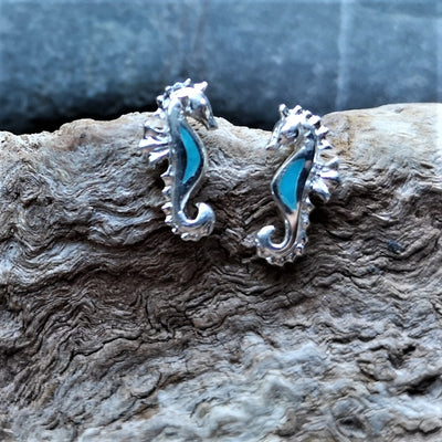 Silver and Turquoise Sea Horse Stud Earrings