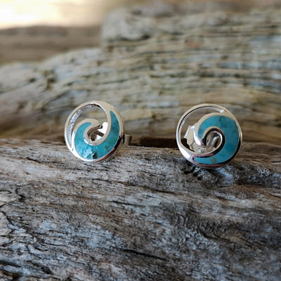 Silver and Turquoise Wave Earrings