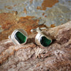 Unique Silver and Dark Green Sea Glass Cufflinks