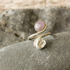 Silver Shell and Amethyst Adjustable Ring
