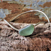 Silver Wave Bangle with Rare Sea Glass Stone