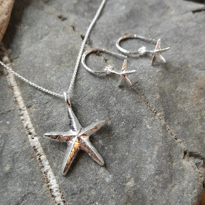 Silver Starfish Pendant and Earrings