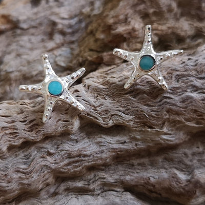 silver and turquoise starfish earrings