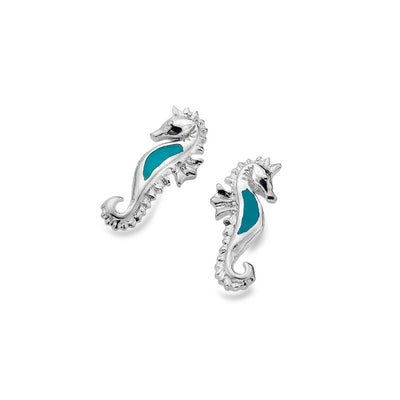 Turquoise and Silver Sea Horse Stud Earrings